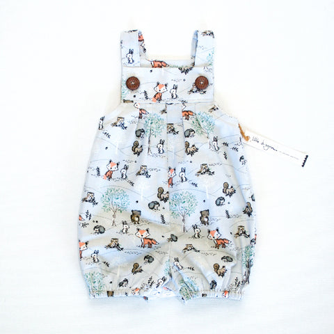 Little Dragon by Lauren Unlimited Rabbit and Woodland friends bubble romper overalls