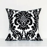Lauren Unlimited Black and White Damask Flocked Cushion Cover