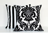 Lauren Unlimited Black and White Damask Flocked Cushion Cover and Flocked Stripe Cushion Cover