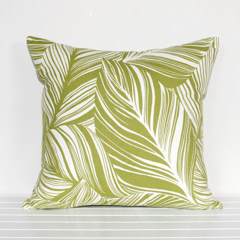 Lauren Unlimited Green and Cream Botanical Leaf Patterned Cushion Cover