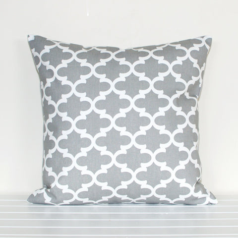 Lauren Unlimited Grey and White Quatrefoil Trellis Geometric Cushion Cover