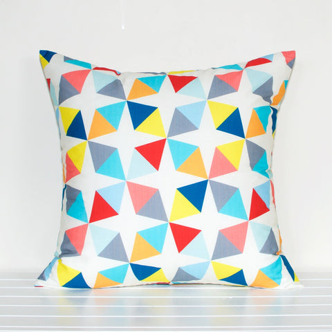 Lauren Unlimited White, Grey, Yellow, Aqua, Blue, Red, Pink and Orange Triangle Geometric Cushion Cover