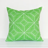 Lauren Unlimited Green and White Linear Geometric Indoor/Outdoor Cushion Cover