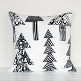 Lauren Unlimited Marimekko 'Kuusikossa' Monochrome Black and White Christmas Trees Cushion Cover