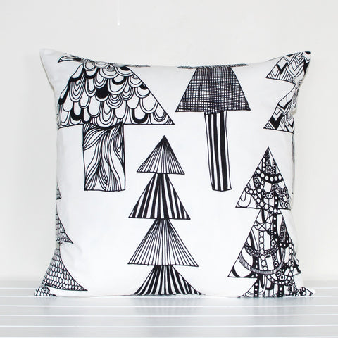 Lauren Unlimited Marimekko 'Kuusikossa' Monochrome Black and White Trees Cushion Cover