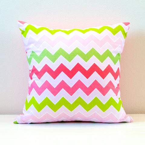 Lauren Unlimited Pink, Green and White Chevron Cushion Cover