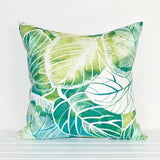 Lauren Unlimited Green, Teal, Turquoise and White Rainforest Leaves Tropical Indoor/Outdoor Cushion Cover alternate view