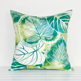 Lauren Unlimited Green, Teal, Turquoise and White Rainforest Leaves Tropical Indoor/Outdoor Cushion Cover