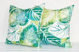Lauren Unlimited Green, Teal, Turquoise and White Rainforest Leaves Tropical Indoor/Outdoor Cushion Covers
