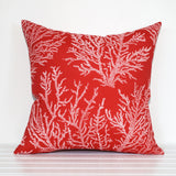 Red and white coral outdoor cushion by Lauren Unlimited