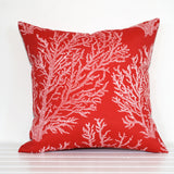 Large scale coral print red outdoor cushion
