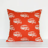 Lauren Unlimited Retro School Bus Square Cushion Cover in Orange and Natural