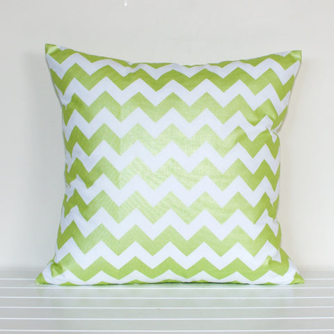 Lauren Unlimited Metallic Green and White Chevron Cushion Cover