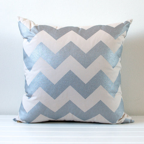 Lauren Unlimited Silver Metallic and Beige Chevron Cushion Cover