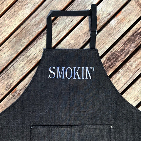Smokin' Washed Black Denim Adult Apron