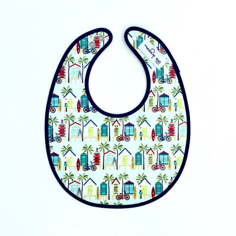 Pale Blue and Navy Beach Hut Laminated Cotton Bib