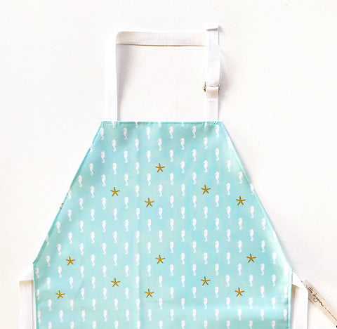 Mint and White Seahorses and Metallic Gold Starfish Laminated Cotton Children's Apron