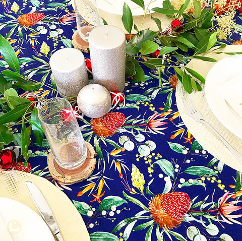 Waratah and Wattle Australian Floral Tablecloth in Blue with Red, Orange, Green, White and Yellow