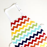 Rainbow chevron children's laminated cotton apron handmade by Little Dragon by Lauren Unlimited