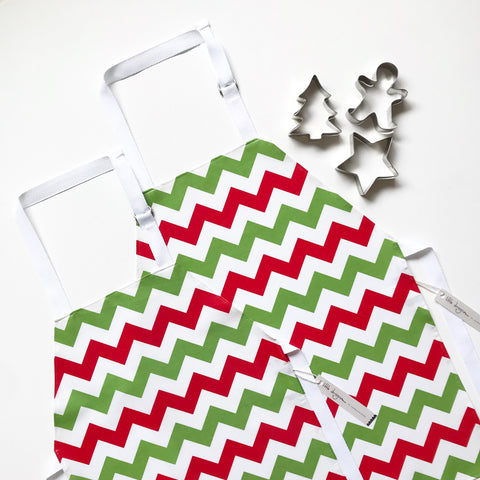 Red, White and Green Chevron Laminated Cotton Children's Apron