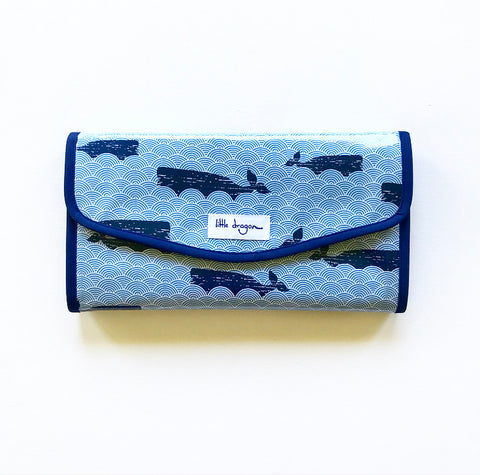 Blue and Navy Whales and Sealife Laminated Cotton Baby Change Mat Clutch
