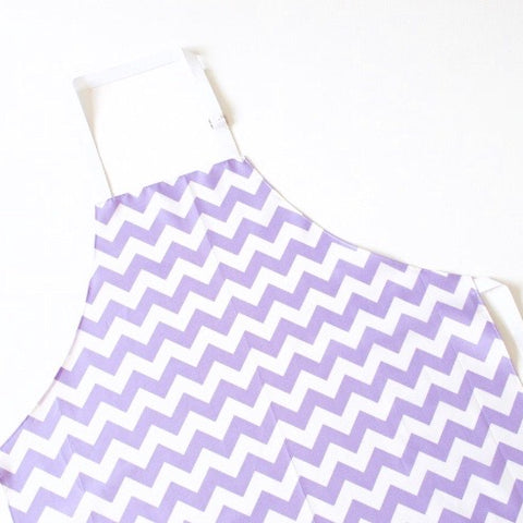Lilac and White Chevron Laminated Cotton Adults Apron