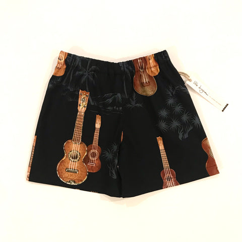 Boys Black Ukelele Palm Tree Shorts