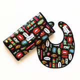 Black and Red Superhero Comic Laminated Cotton Baby Change Mat Clutch