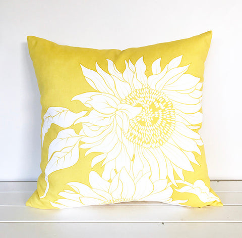 Sunflower Yellow and White Cushion Cover