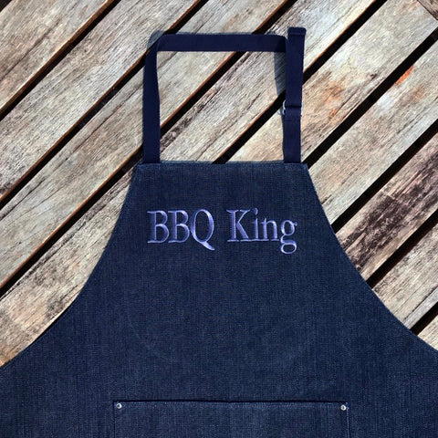 BBQ King Washed Dark Blue Denim Adult Apron