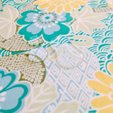 Lauren Unlimited teal blue, yellow, grey and white floral seascape laminated cotton placemat close up image with water droplets