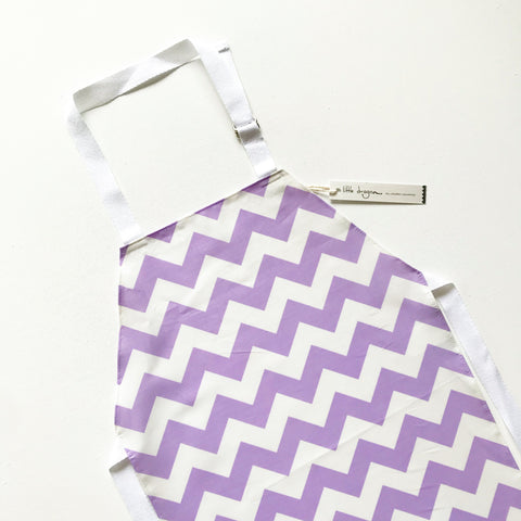 White and Lilac Chevron Laminated Cotton Children's Apron