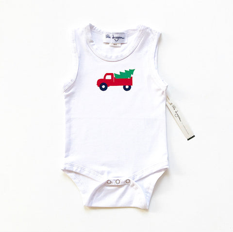 Baby Boys White Bodysuit with Red Appliquéd Christmas Truck and Tree