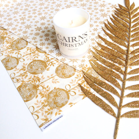 Christmas Table Runner in Cream with Metallic Gold Baubles, Gold Stars and Snowflakes
