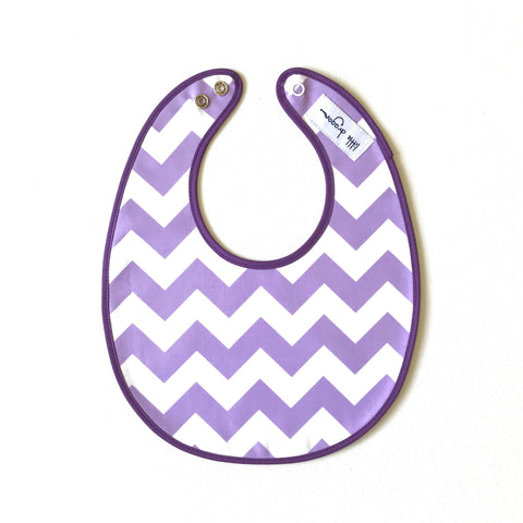 Little Dragon by Lauren Unlimited lilac, white and purple chevron laminated cotton baby bib