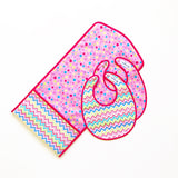 Pink, Blue and Green Mini Chevron and Pink Polka Dot Laminated Cotton Baby Change Mat Clutch
