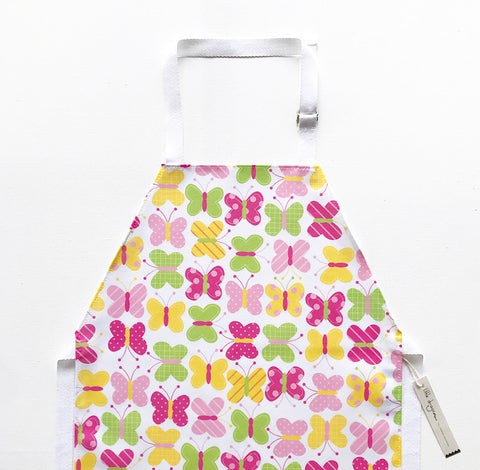 Pastel Pink, Green and Yellow Butterfly Laminated Cotton Children's Apron