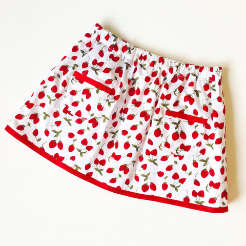 Strawberry Fields Patch Pocket White and Red Skirt
