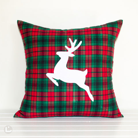 Prancer Red and Green Metallic Plaid Reindeer Christmas Cushion Cover