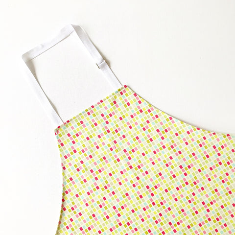 Heather Bailey City Grid Pink and Green Cotton Sateen Adult Apron
