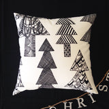 Marimekko 'Kuusikossa' Monochrome Black and White Christmas Trees Cushion Cover handmade by Lauren Unlimited