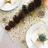 Christmas Table Runner in Cream with Metallic Gold Stars, Snowflakes and Metallic Gold Baubles