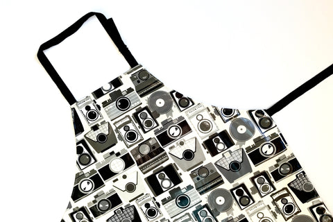Lauren Unlimited Black and Grey Retro Vintage Cameras Laminated Cotton Adult Apron