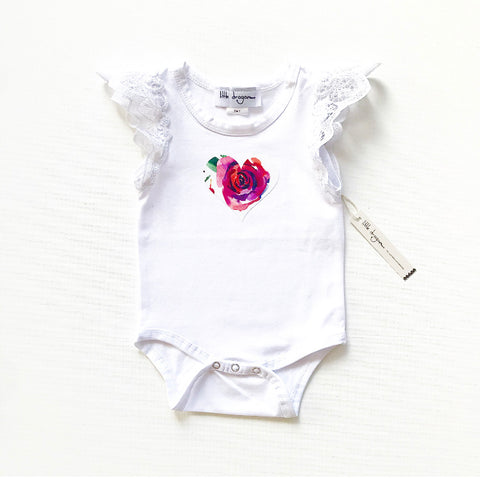 Baby Girls White Lace Flutter Sleeve Christmas Bodysuit with Applique Heart