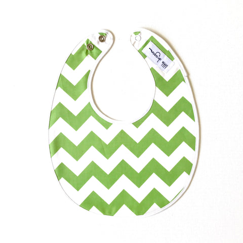 Little Dragon by Lauren Unlimited green and white chevron laminated cotton baby bib