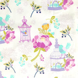 White, Lilac and Purple Bird Cage Laminated Cotton Bib