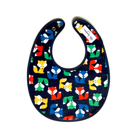 Navy, Green, Yellow and Red Foxes Laminated Cotton Bib