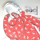Coral Pink and Grey Unicorn Laminated Cotton Bib