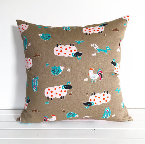 Farm Animals Polka Dot Cotton Linen Cushion Cover
