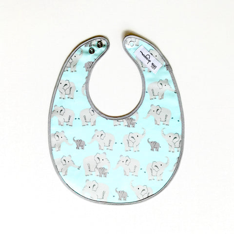 Aqua and Grey Elephant Laminated Cotton Bib